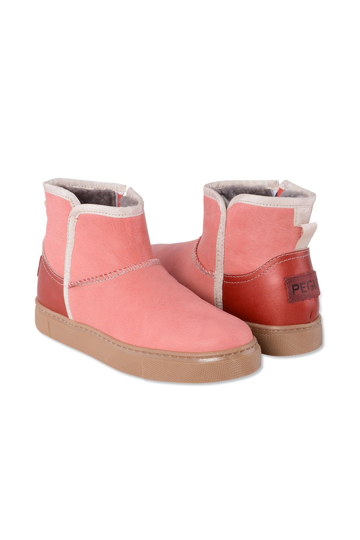Pegia Genuine Leather & Shearling Women's Boots with a Zip 980415 Pink