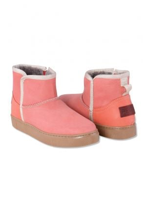 Pegia Genuine Leather & Shearling Women's Boots with a Zip 980417 Pink
