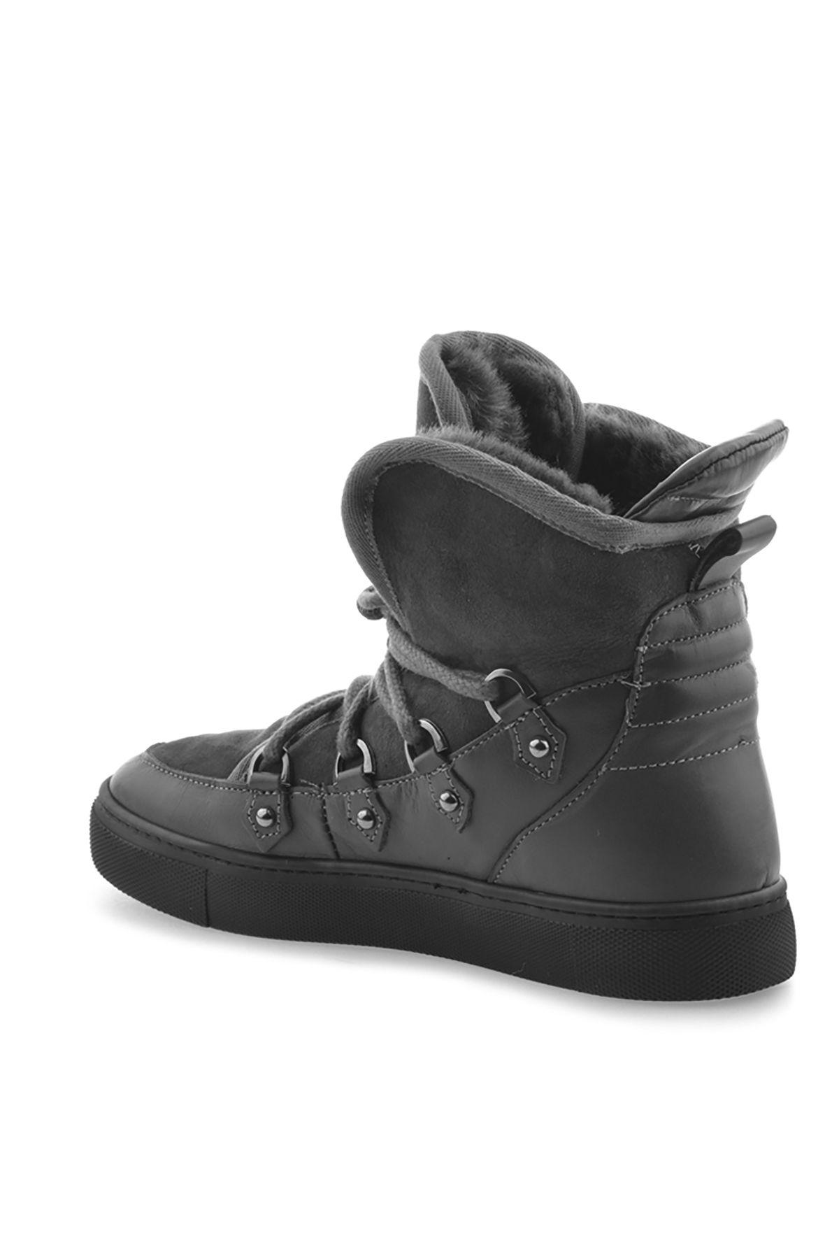 Pegia Hakiki Deri İçi Kürklü Bayan Sneaker Bot 157612 Gri