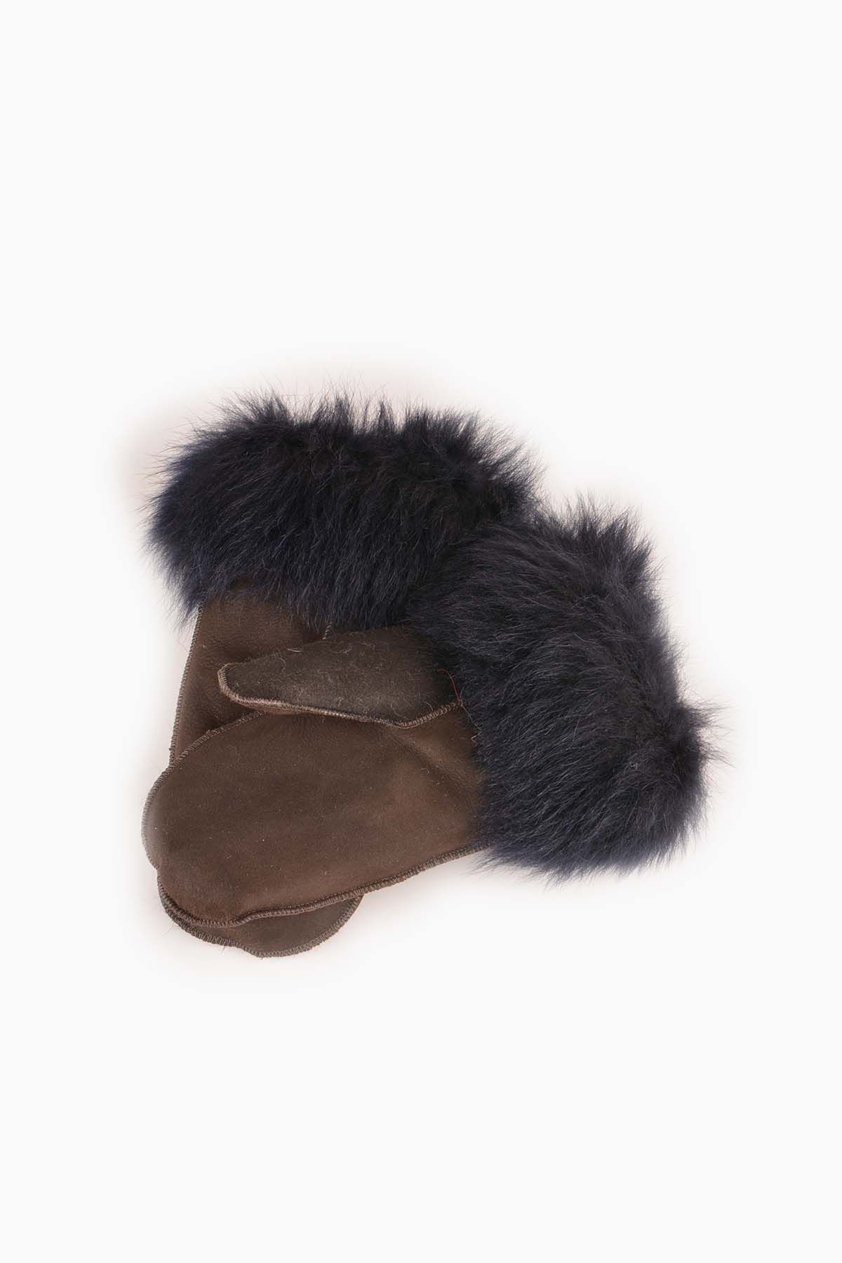 Pegia Kids Gloves From Genuine Leather And Sheepskin Fur Brown