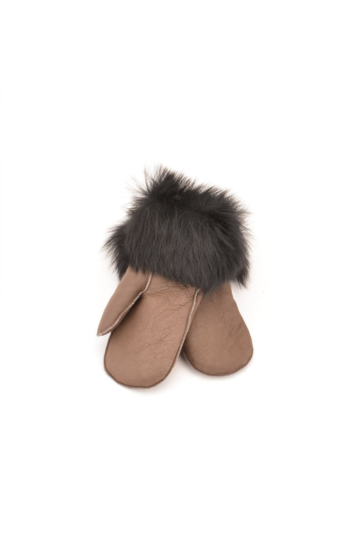Pegia Kids Gloves From Genuine Leather And Sheepskin Fur Black