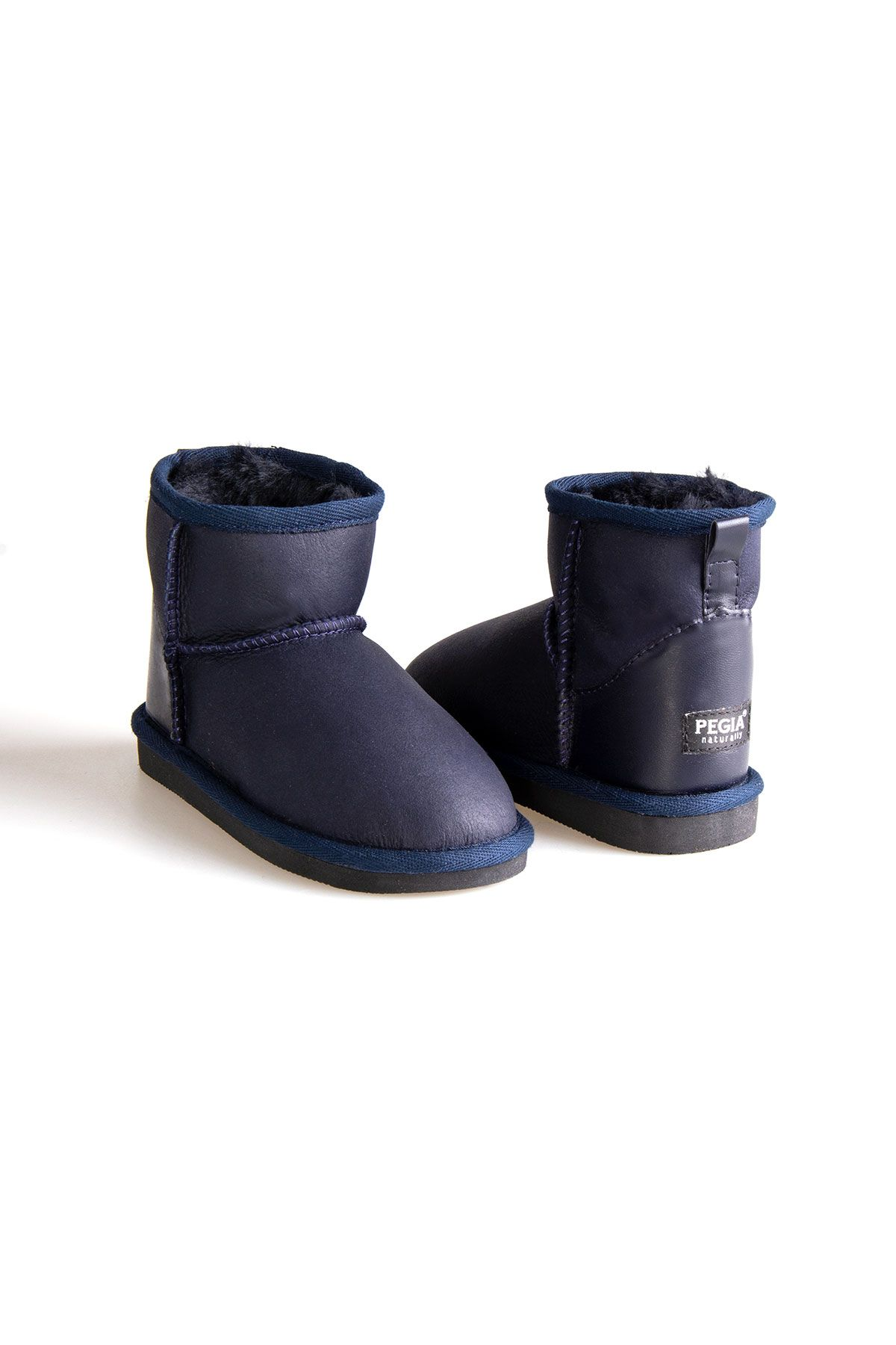 Pegia Kid's Genuine Sheepskin Lined Classic Boots 181008 Navy blue