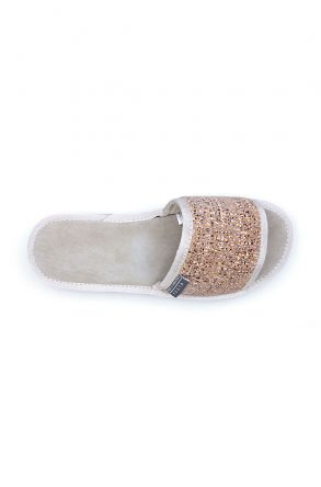 Pegia Genuine Leather Women's House Slippers 191400 Beige