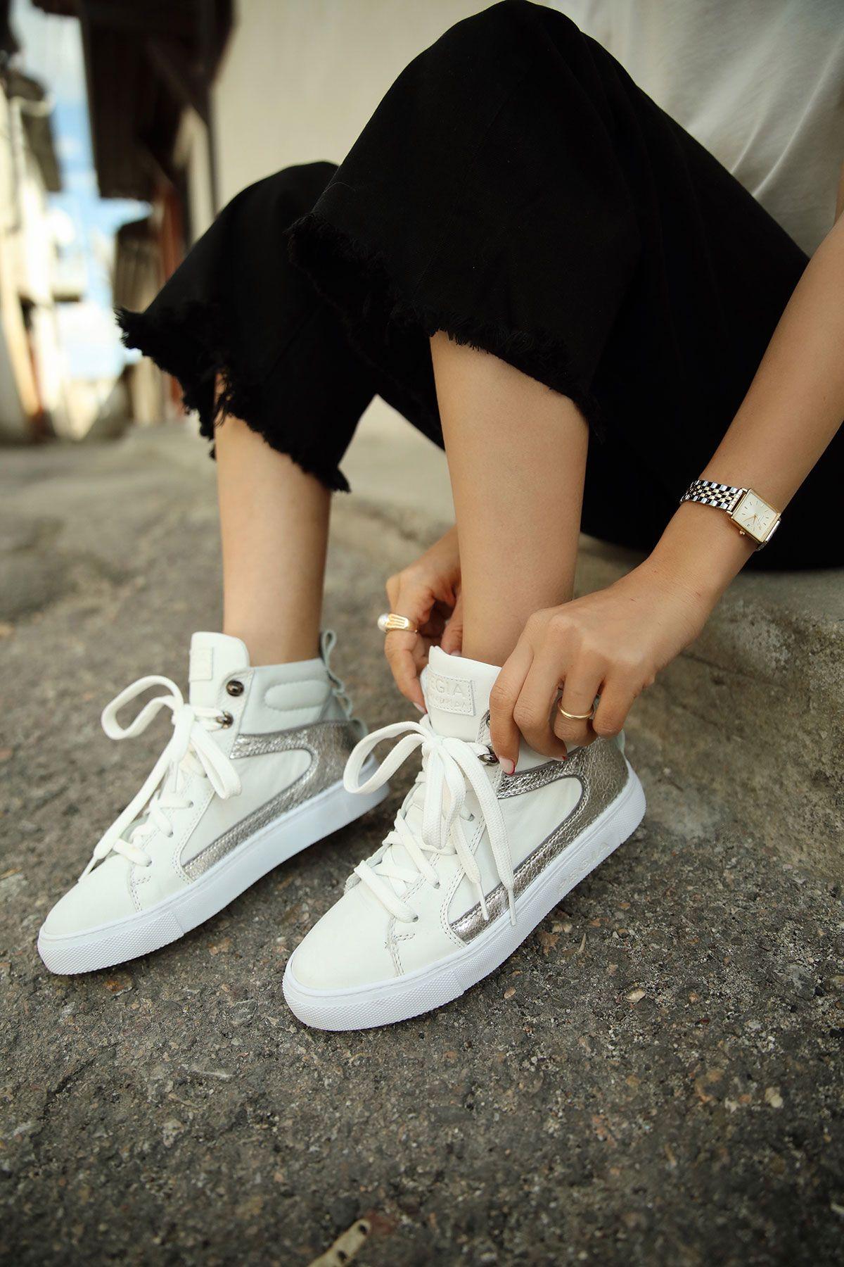 Pegia Genuine Leather Women's Sneaker LA1202 White