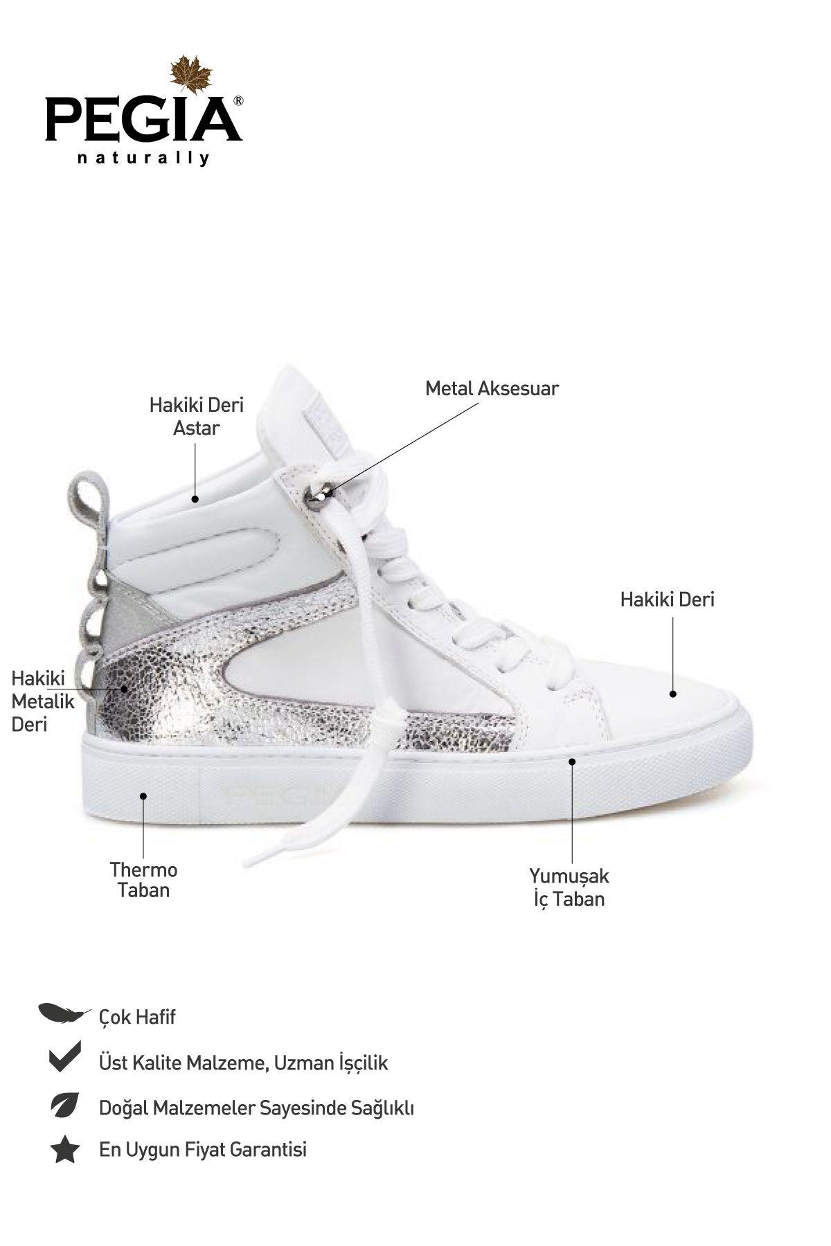 Pegia Hakiki Deri Kadın Sneaker LA1202 Beyaz