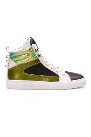 Pegia Hakiki Deri Kadın Sneaker LA1207 Yeşil
