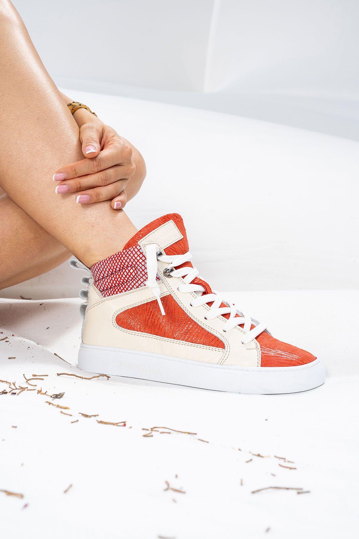 Pegia Genuine Leather Women's Sneaker LA1213 Red
