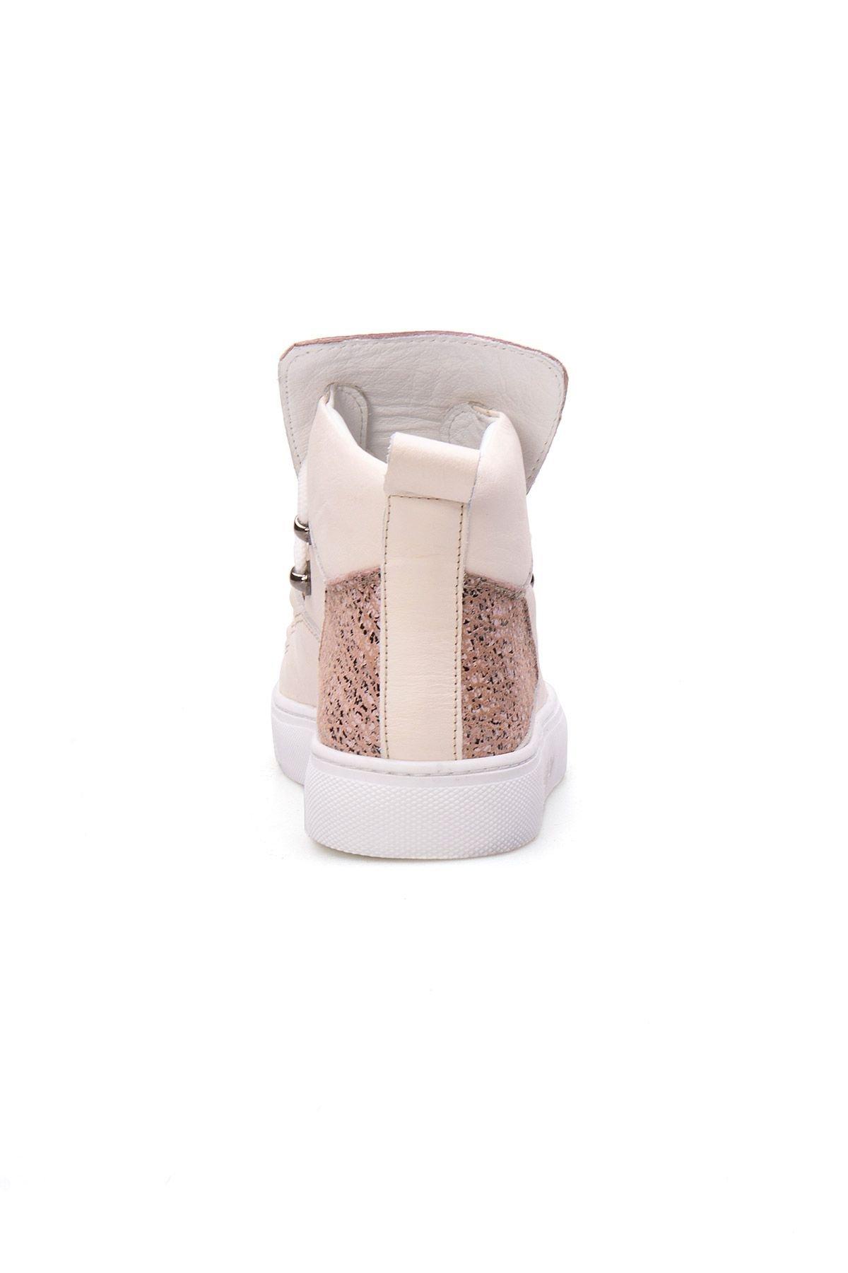 Pegia Hakiki Deri Kadın Sneaker LA1310 Bej