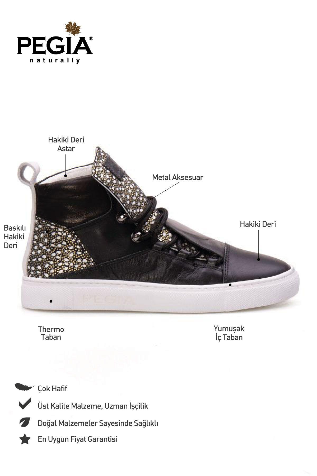 Pegia Genuine Leather Women's Sneaker LA1311 Black