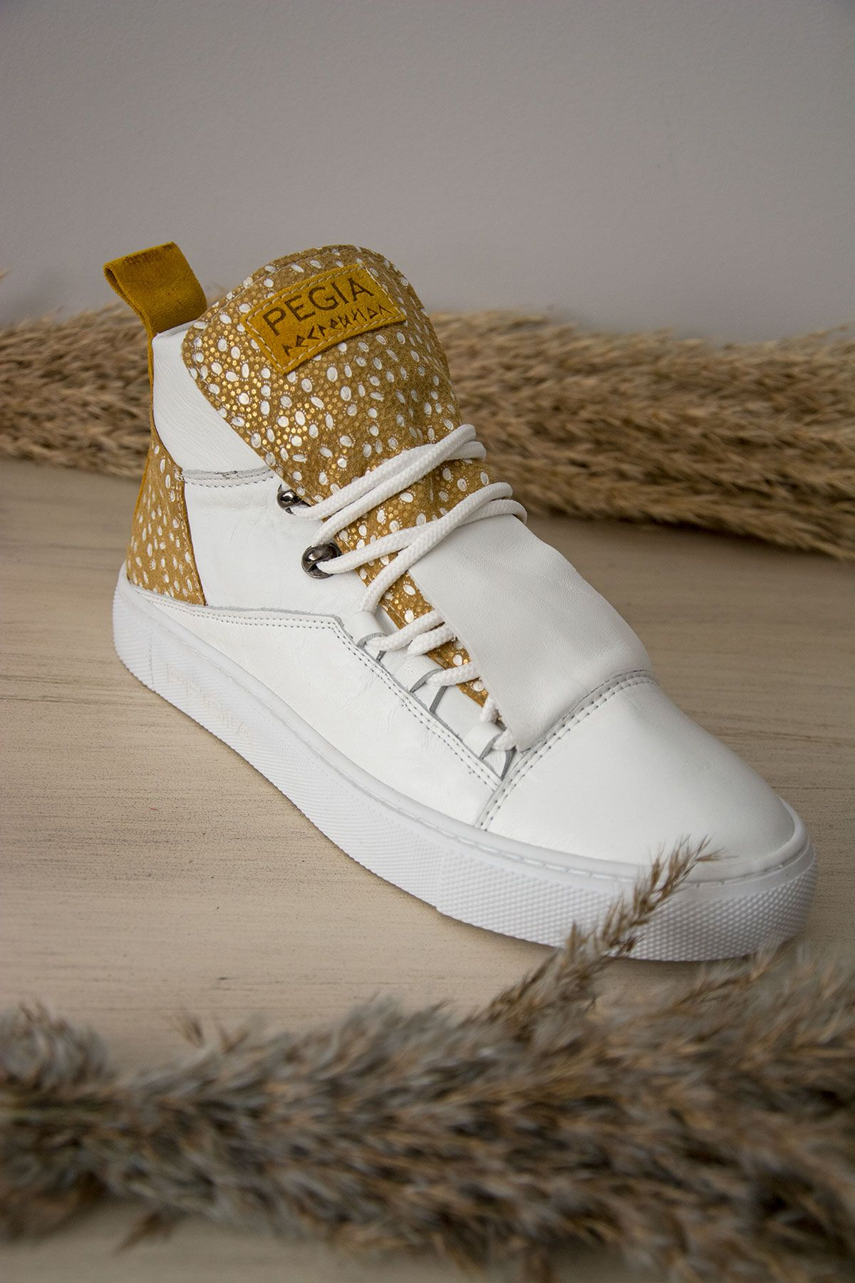 Pegia Genuine Leather Women's Sneaker LA1312 Yellow