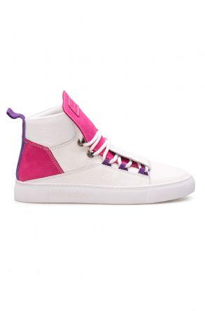Pegia Hakiki Deri Kadın Sneaker LA1317 Beyaz