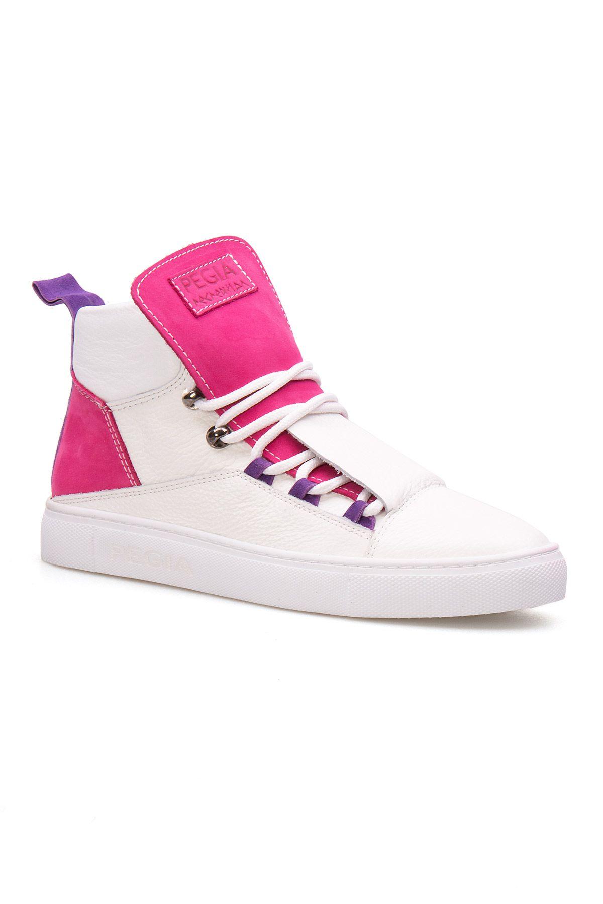 Pegia Genuine Leather Women's Sneaker LA1317 White