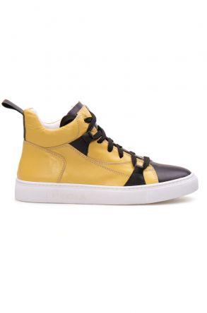 Pegia Hakiki Deri Kadın Sneaker LA1408 Sarı