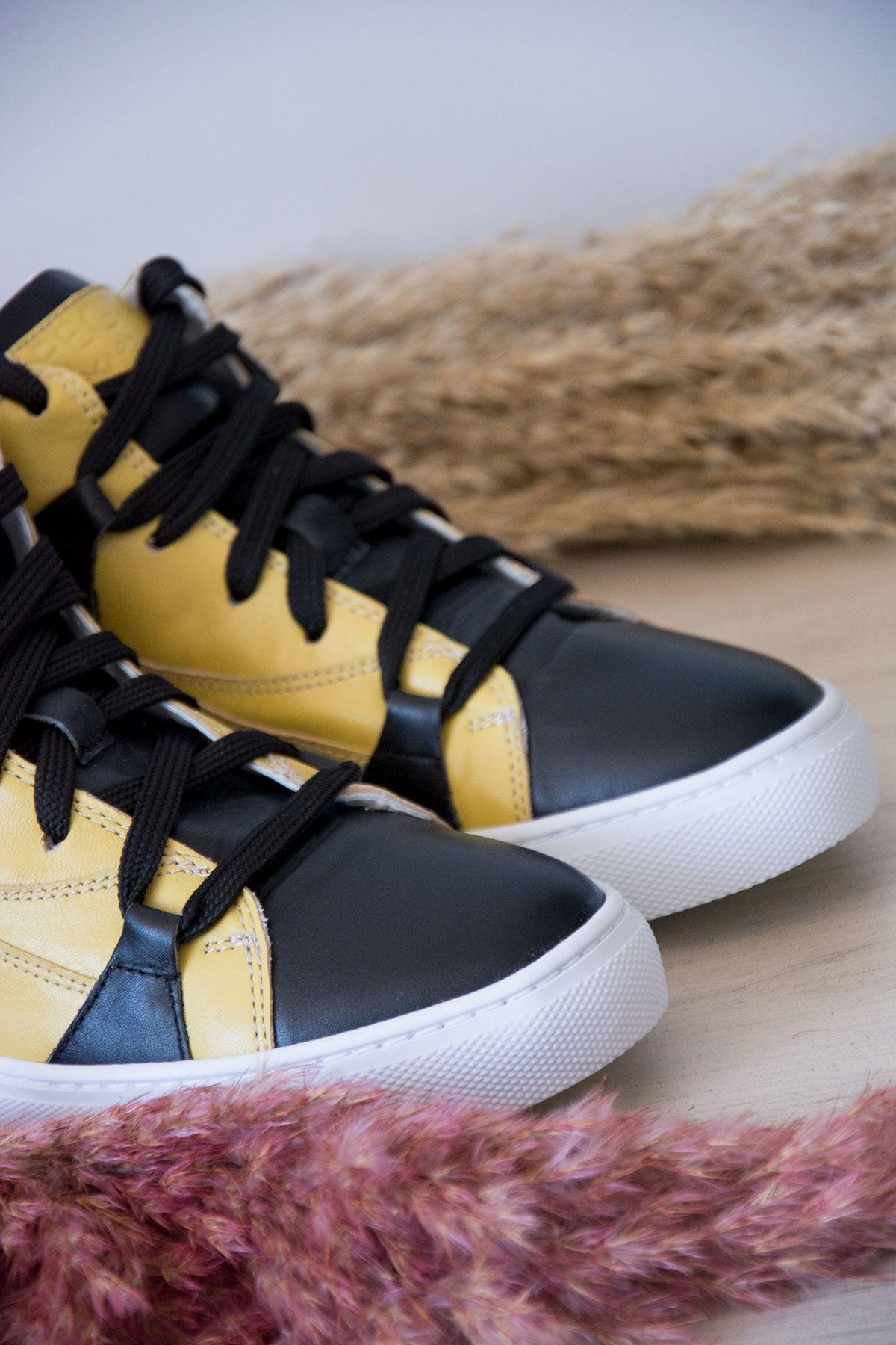 Pegia Genuine Leather Women's Sneaker LA1408 Yellow