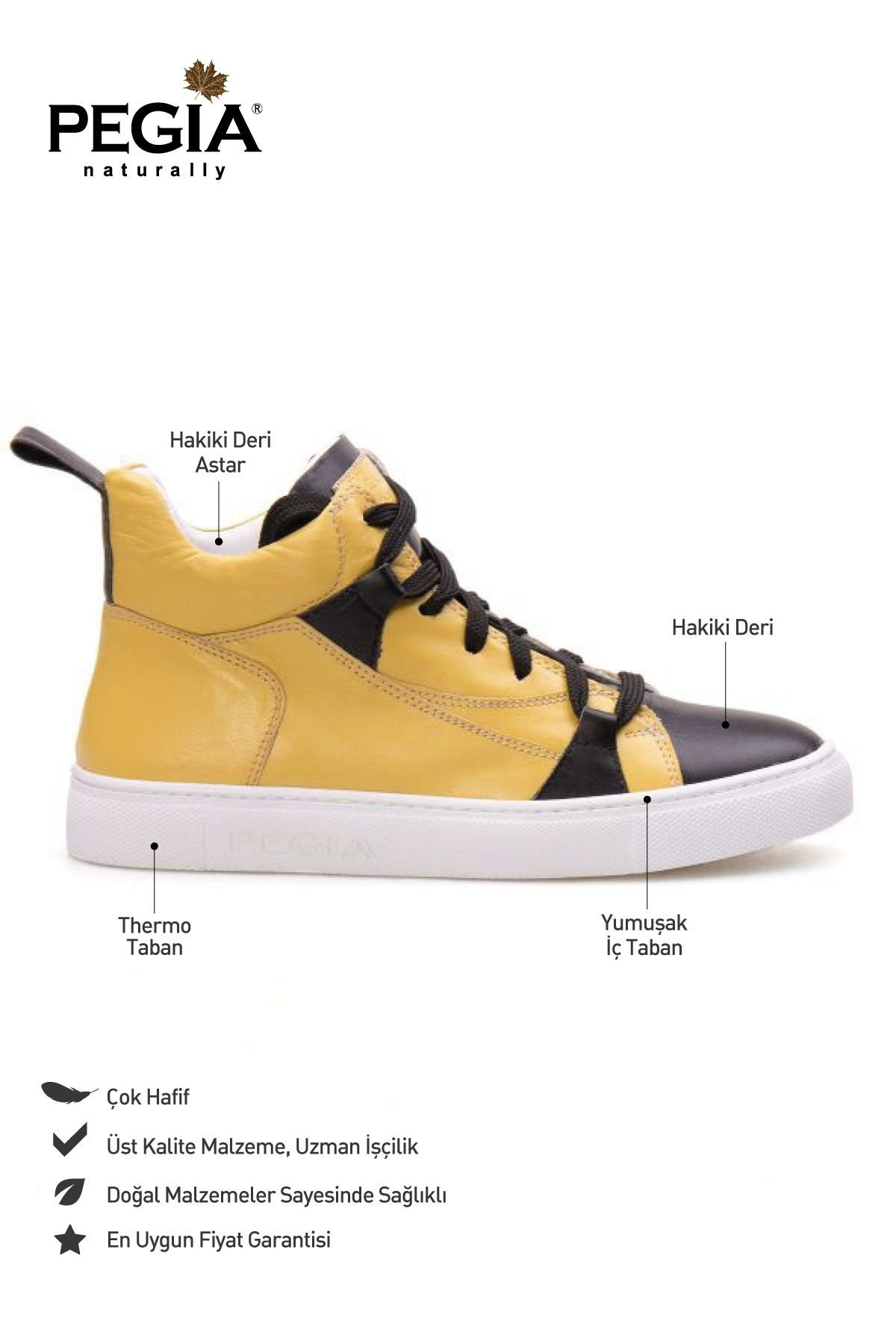 Pegia Genuine Leather Women's Sneaker LA1408 Yellow