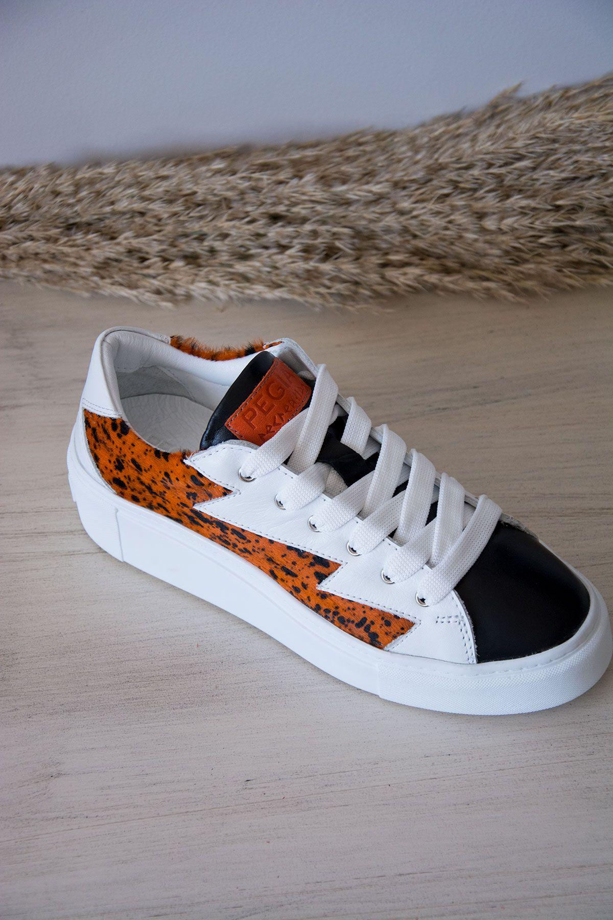 Pegia Genuine Leather Women's Sneaker LA1503 Orange
