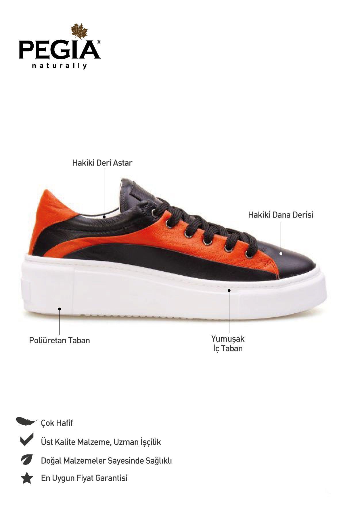 Pegia Genuine Leather Women's Sneaker LA1601 Black