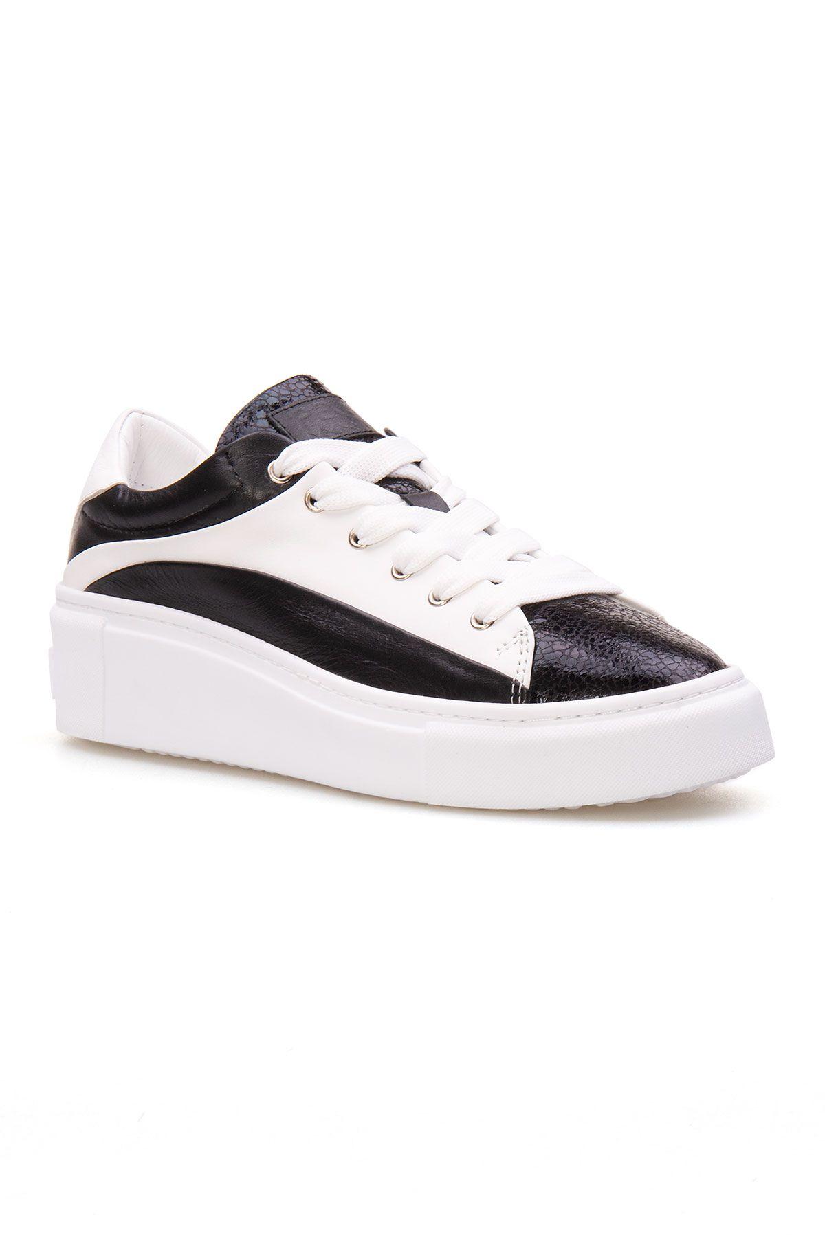 Pegia Hakiki Deri Kadın Sneaker LA1602 Siyah
