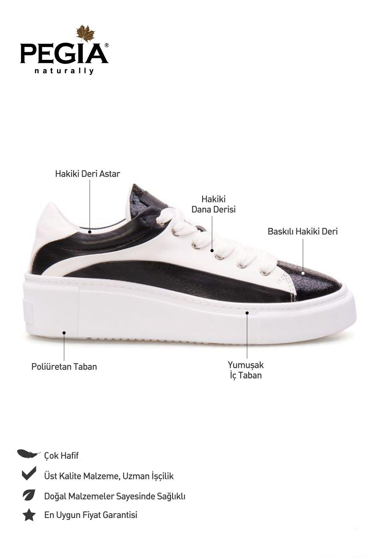 Pegia Genuine Leather Women's Sneaker LA1602 Black