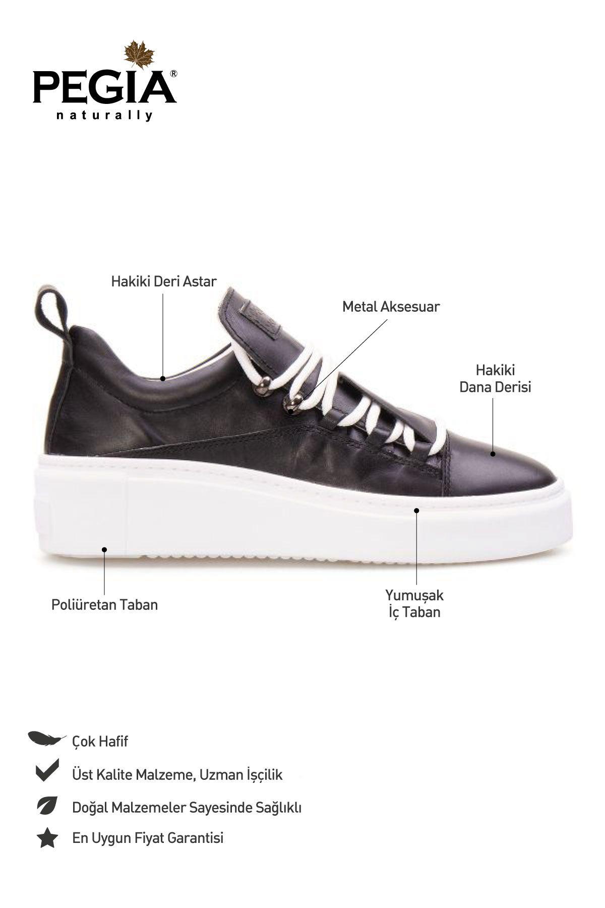 Pegia Genuine Leather Women's Sneaker LA1702 Black