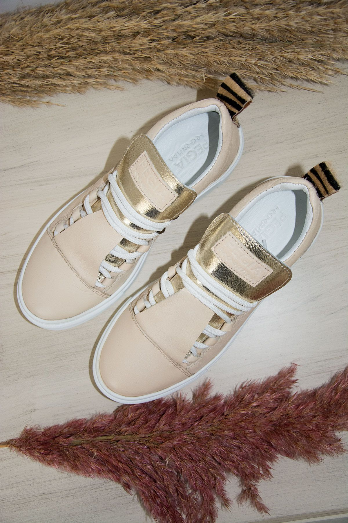 Pegia Genuine Leather Women's Sneaker LA1703 Beige