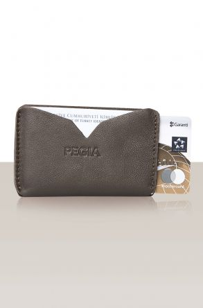 Pegia Genuine Leather Cardholder 19CZ102 Dark Brown