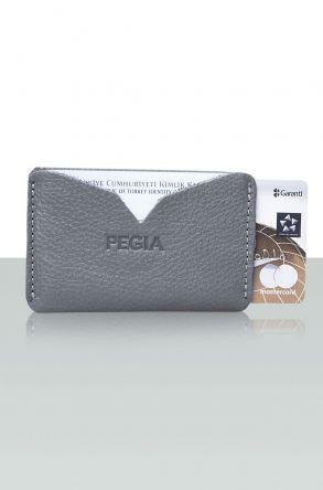 Pegia Hakiki Deri Kartlık Cüzdan 19CZ101 Gri