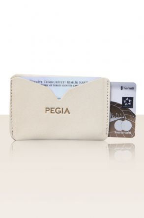Pegia Hakiki Deri Kartlık Cüzdan 19CZ101 Cream