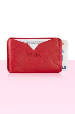 Pegia Hakiki Deri Kartlık Cüzdan 19CZ101 Kırmızı