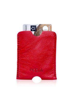 Pegia Hakiki Deri Kartlık Cüzdan 19CZ201 Kırmızı