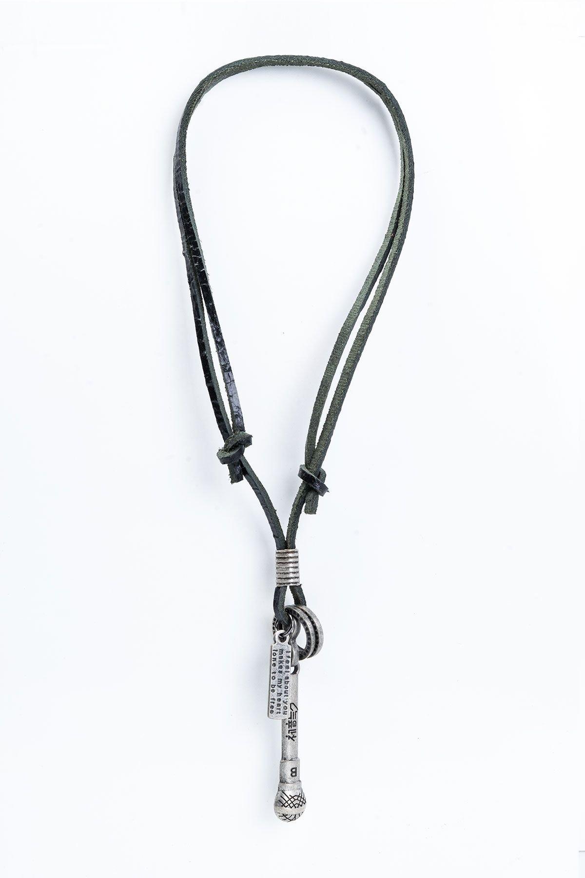 Pegia Genuine Leather Necklace 19KL01 Black