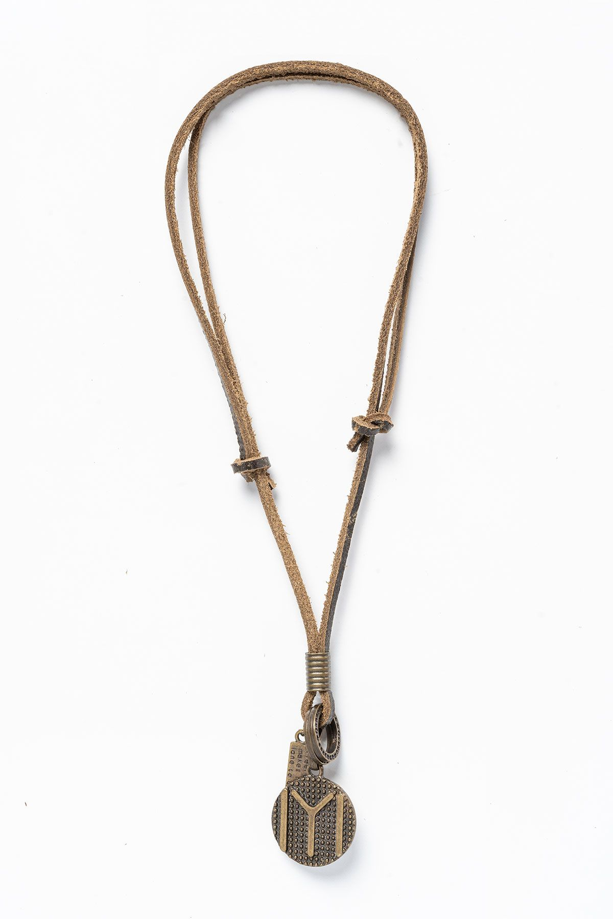 Pegia Genuine Leather Necklace 19KL06 Brown