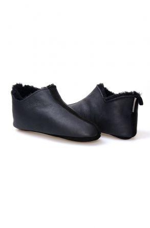 Pegia Hakiki Deri Kürklü Erkek Ev Ayakkabısı 111010 Siyah