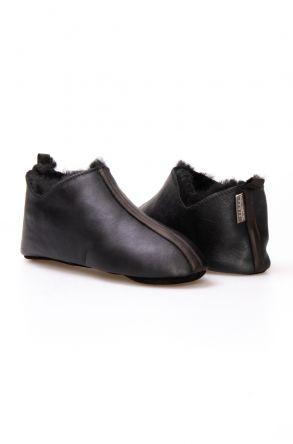 Pegia Hakiki Deri Kürklü Erkek Ev Ayakkabısı 111010 Koyu Kahve
