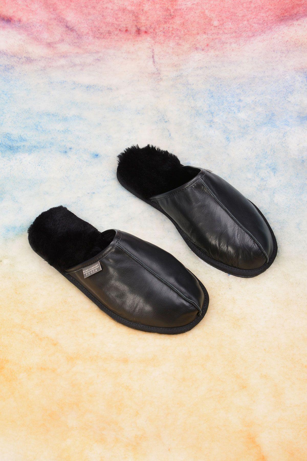 Pegia Genuine Leather Men's House Slippers 111012 Black