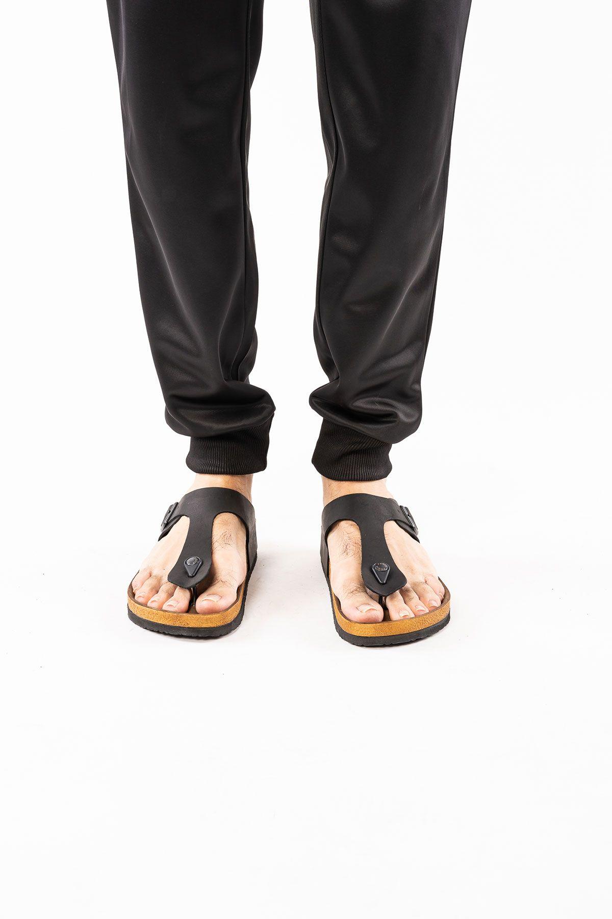 Pegia Genuine Leather Men's Slippers 215011 Black