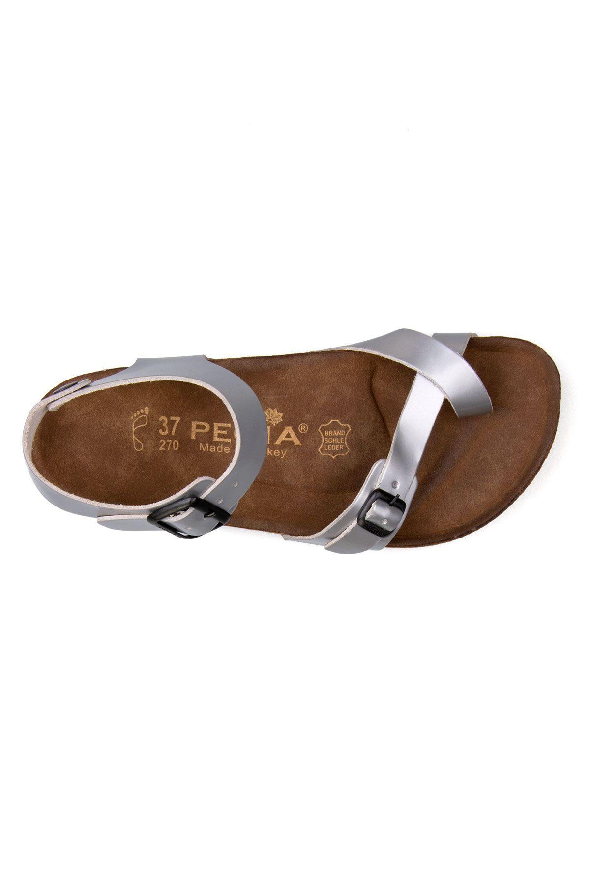 Pegia Genuine Leather Flip-Flops Women's Sandals 215513 Silver