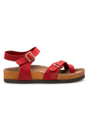 Pegia Genuine Leather Flip-Flops Women's Sandals 215513 Red