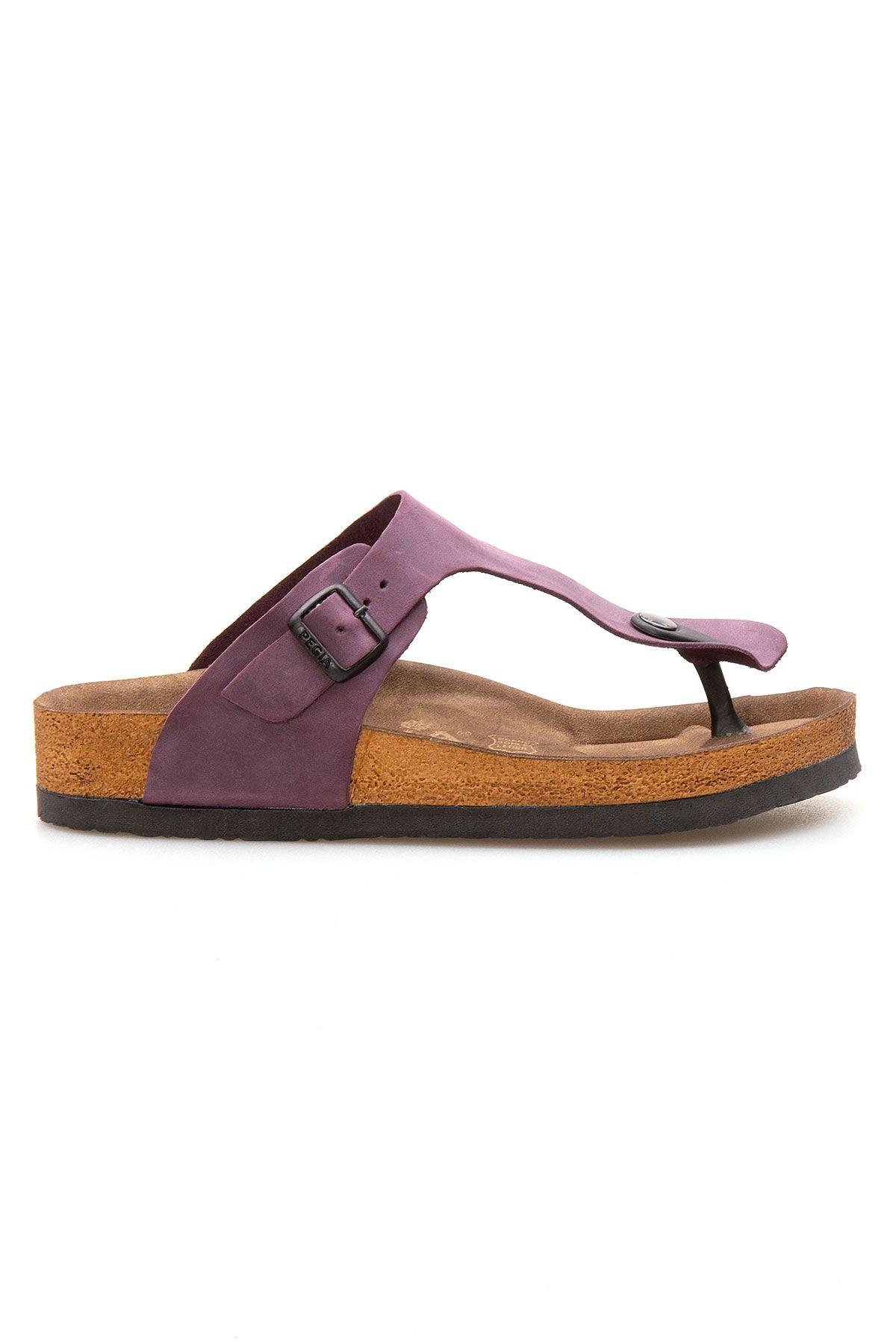 Pegia Genuine Leather Women's Flip Flops 215511 Purple