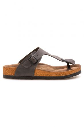 Pegia Genuine Leather Women's Flip Flops 215511 Anthracite-colored