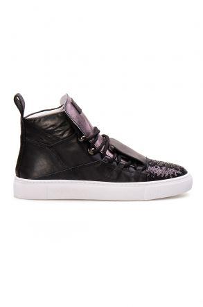 Pegia Hakiki Deri Payetli Kadın Sneaker LA1304 Siyah
