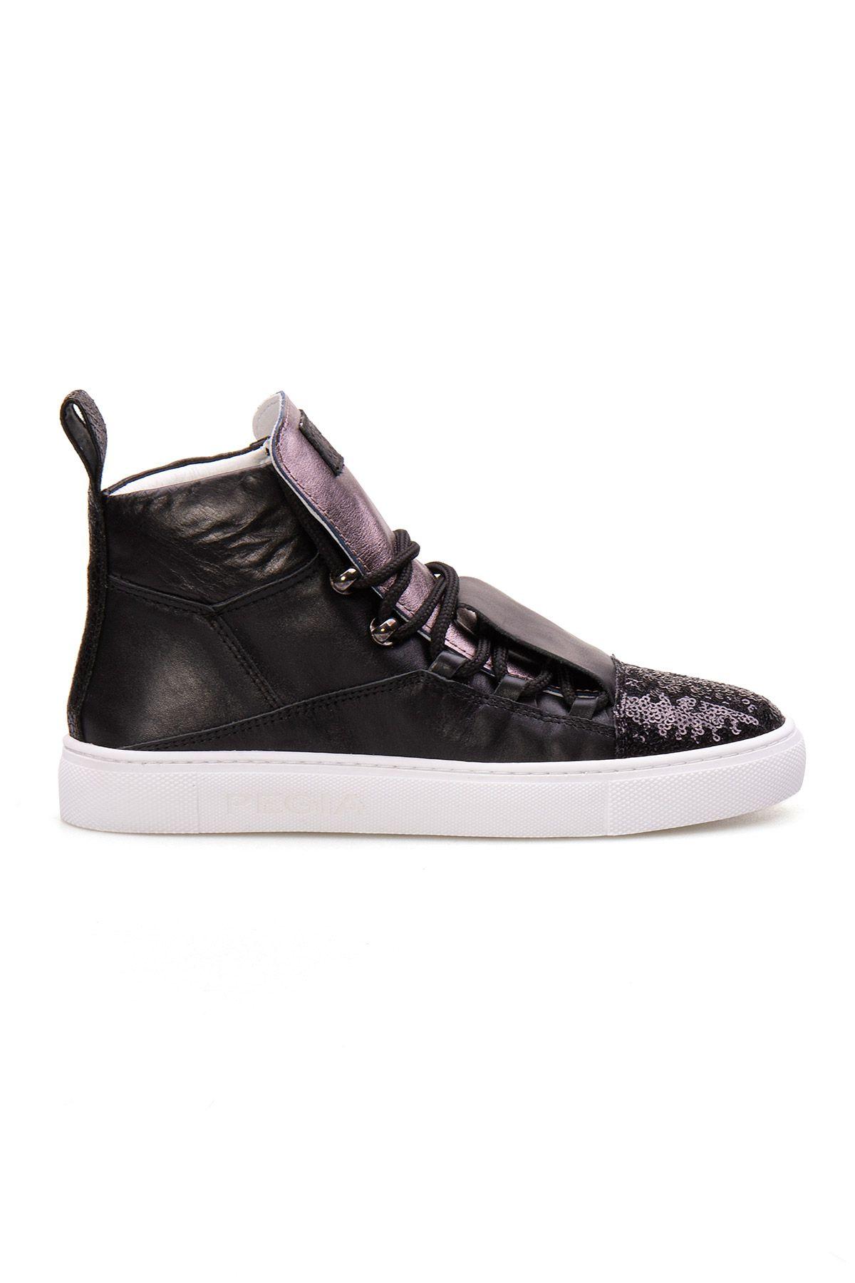 Pegia Genuine Leather Women's Sneaker LA1304 Black