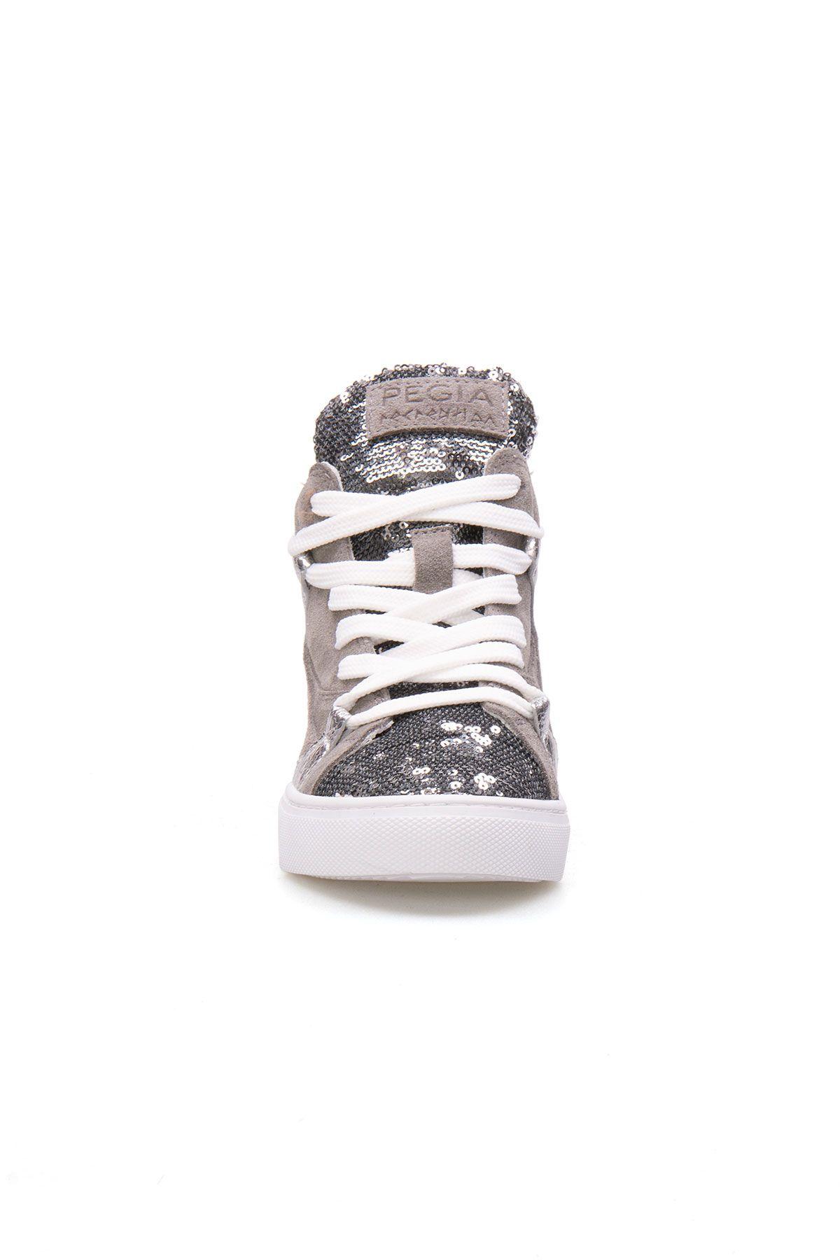 Pegia Genuine Leather Sequined Women's Sneaker LA1403 Gray