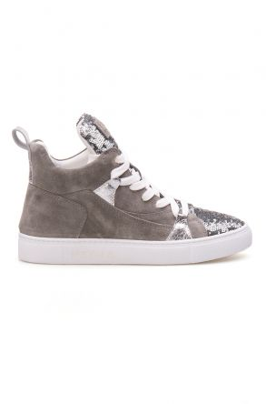 Pegia Genuine Leather Sequined Women's Sneaker LA1403 Gray