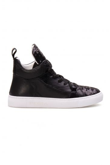 Pegia Genuine Leather Sequined Women's Sneaker LA1404 Black