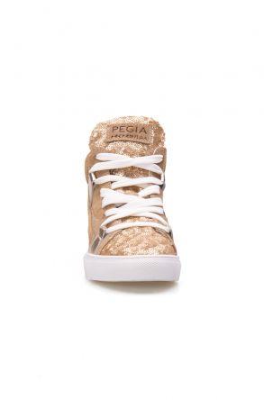 Pegia Hakiki Deri Payetli Kadın Sneaker LA1405 Altın