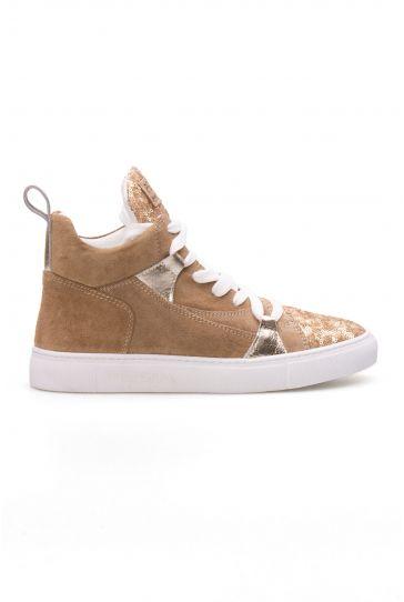 Pegia Genuine Leather Sequined Women's Sneaker LA1405 Golden