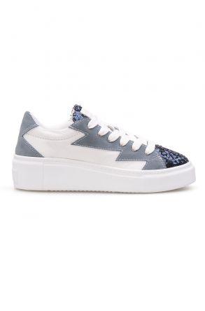 Pegia Hakiki Deri Payetli Kadın Sneaker LA1501 Turkuaz
