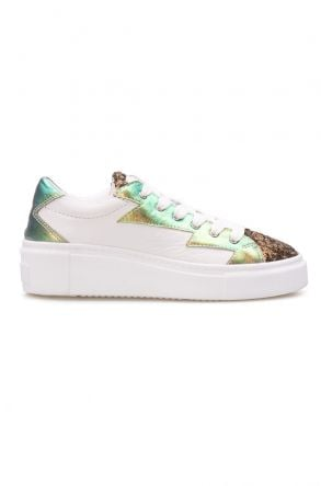 Pegia Genuine Leather Sequined Women's Sneaker LA1502 Golden