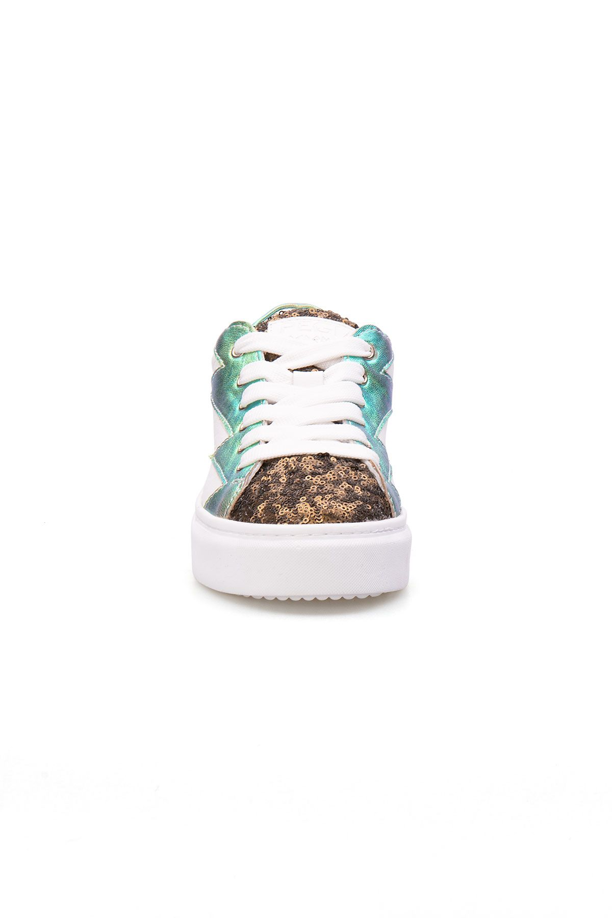 Pegia Genuine Leather Sequined Women's Sneaker LA1502 Golden